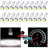 CCIYU 20x Car T5 5050 1SMD Wedge Xenon White LED Light Bulbs 74 17 18 37 70 73 2721 For side markers, running lights, corner bumper lights, license plate lights, instrument cluster