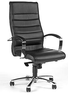 Schreibtischstuhl  Leder Bürostuhl Chefsessel Schreibtischstuhl schwarz: Amazon.de ...
