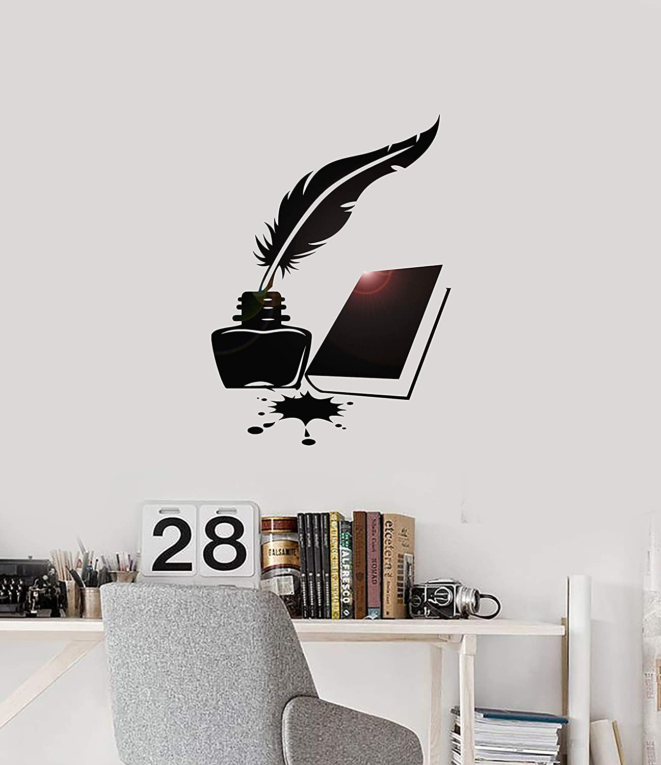 Vinyl Wall Decal Book Feather and Ink Writer Library School Interior Stickers Mural Large Decor (ig5898) Black