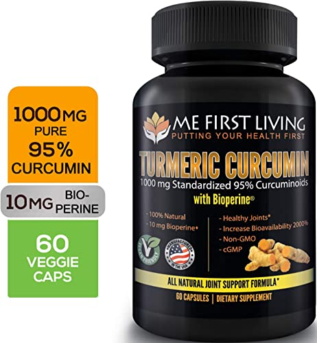 Me First Living Turmeric Curcumin 1000 mg 95 Curcuminoids, Bioperine 10 mg, 19x More Potent Than Others, Increased Absorption, Non-GMO, Organic Turmeric, Vegan, Gluten Free, 60 Capsules