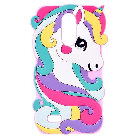 Vivid Pink Unicorn Case for LG Aristo 2 Plus/Aristo 2/Zone 4/Tribute  Dynasty/Fortune 2/Risio 3/Rebel 3 LTE Silicone 3D Cartoon Animal Cover,Kids  Girls