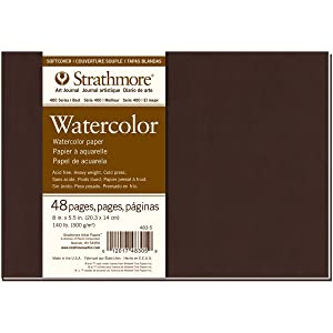 """Strathmore ((483-5 400 Series Softcover Watercolor Art Journal, 8""""x5.5"""", 24 Sheets"""