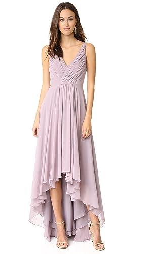 Monique Lhuillier Bridesmaids Women's High Low Chiffon Gown