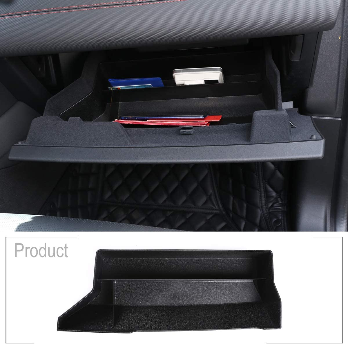 TongSheng ABS Black Car Interior Co-Pilot Glove Storage Box Container Tray Organizer for Land Rover Discovery Sport 2019-2020 for Range Rover Evoque L551 2020