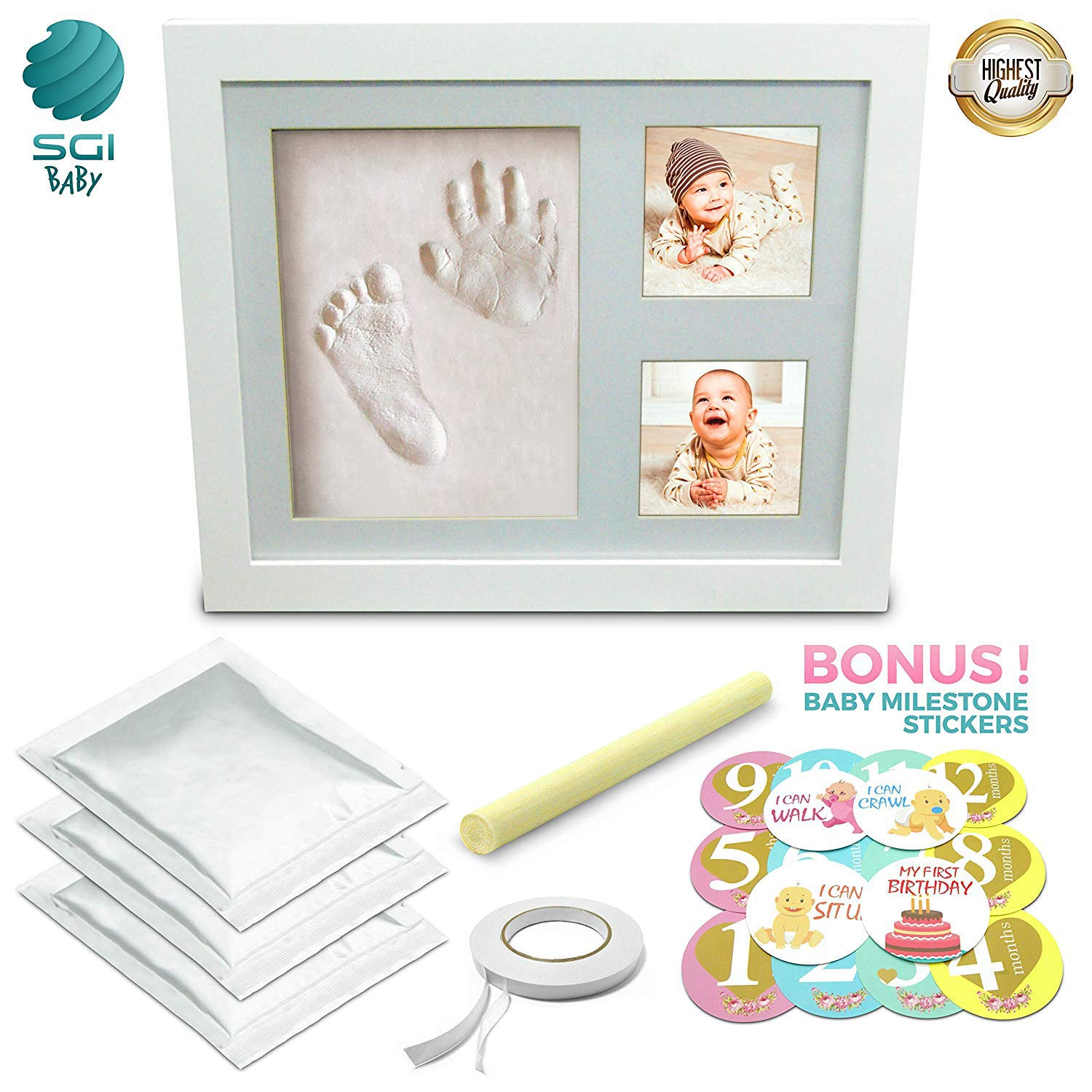 Baby Gifts - Baby Hand and Footprint Kit – Picture Frame with Non-Toxic Clay and Monthly Milestone Stickers Included – Perfect Newborn Shower Gift for Boys & Girls