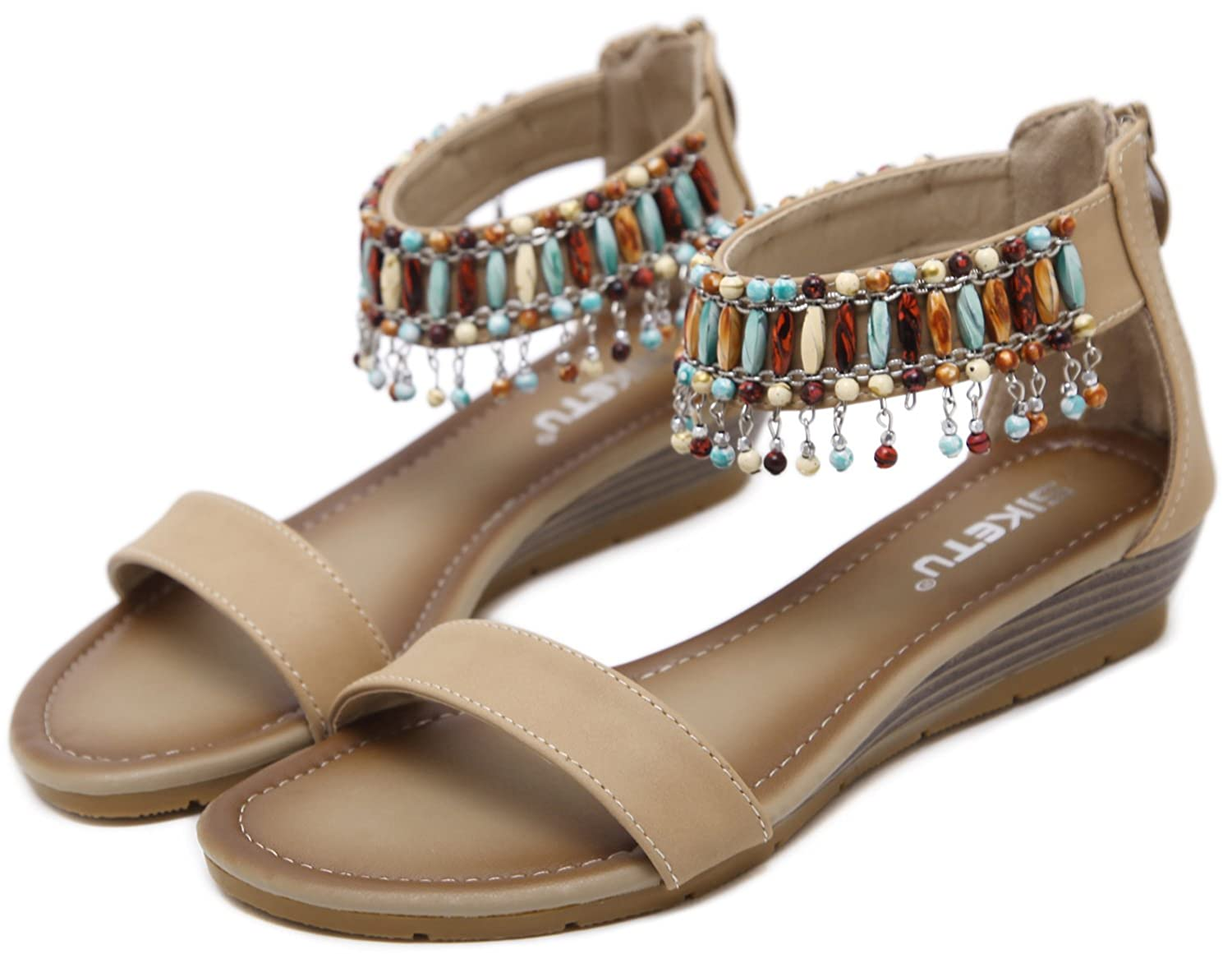 62d7fd964 DolphinGirl Bohemian Summer Tribal Flat Sandals Toe Strap Pendants Prime  Shoes - Casual Women s Shoes