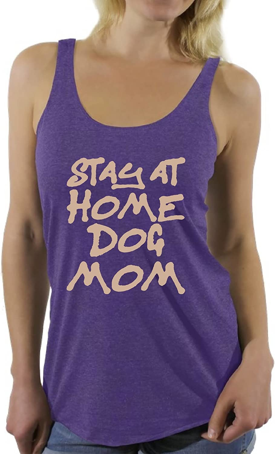 Awkward Styles Women's Stay at Home Dog Mom Graphic Racerback Tank Tops for Dog Lovers