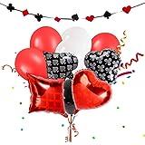 Las Vegas - Decorazioni per feste, a tema poker, palloncini per feste da poker, decorazioni per feste di compleanno, colore: rosso