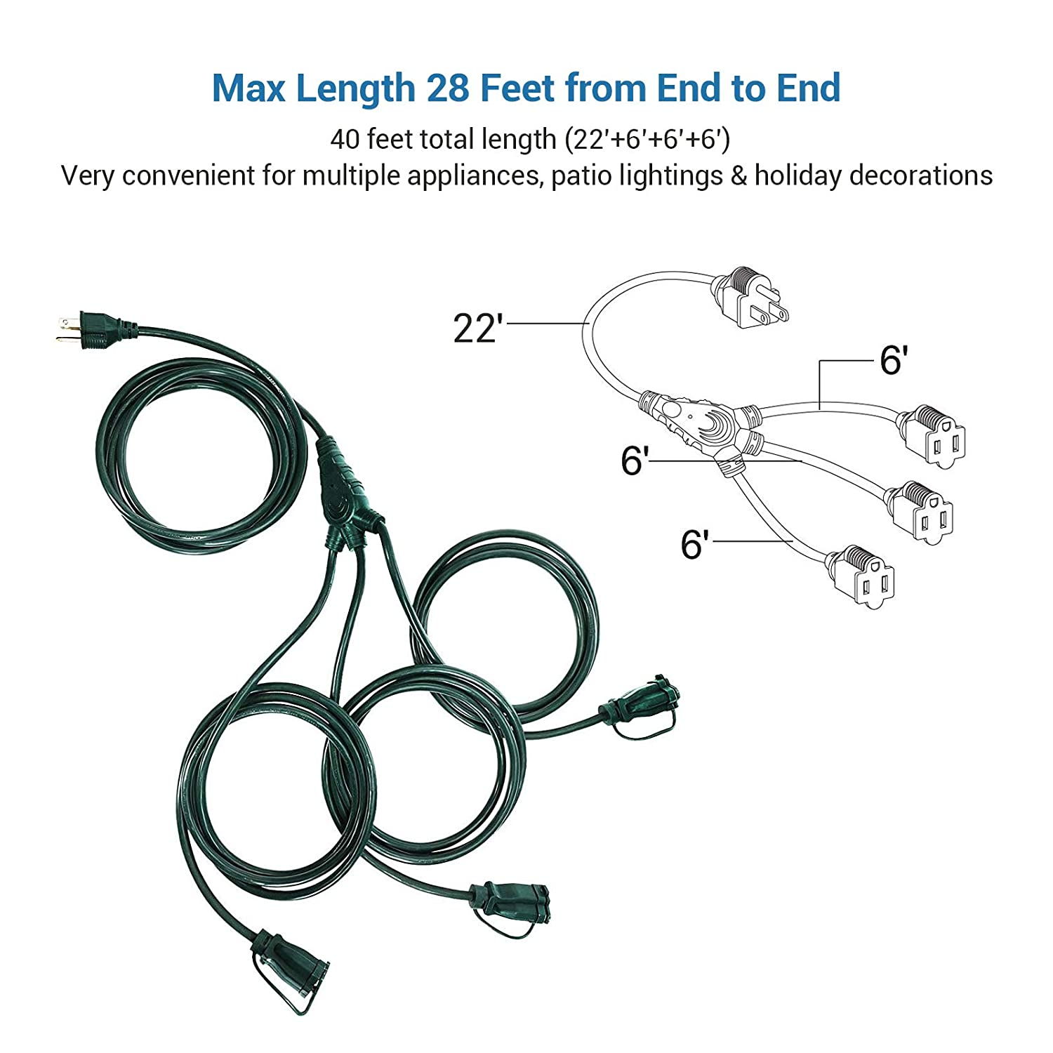 5915a Dewenwils Outdoor Extension Cord 1 To 3 Splitter 3 Prong Outlets Plugs 40 Feet Max 28ft Each Line 16 3c Sjtw Weatherproof Wire For Outdoor Lights Wiring Library