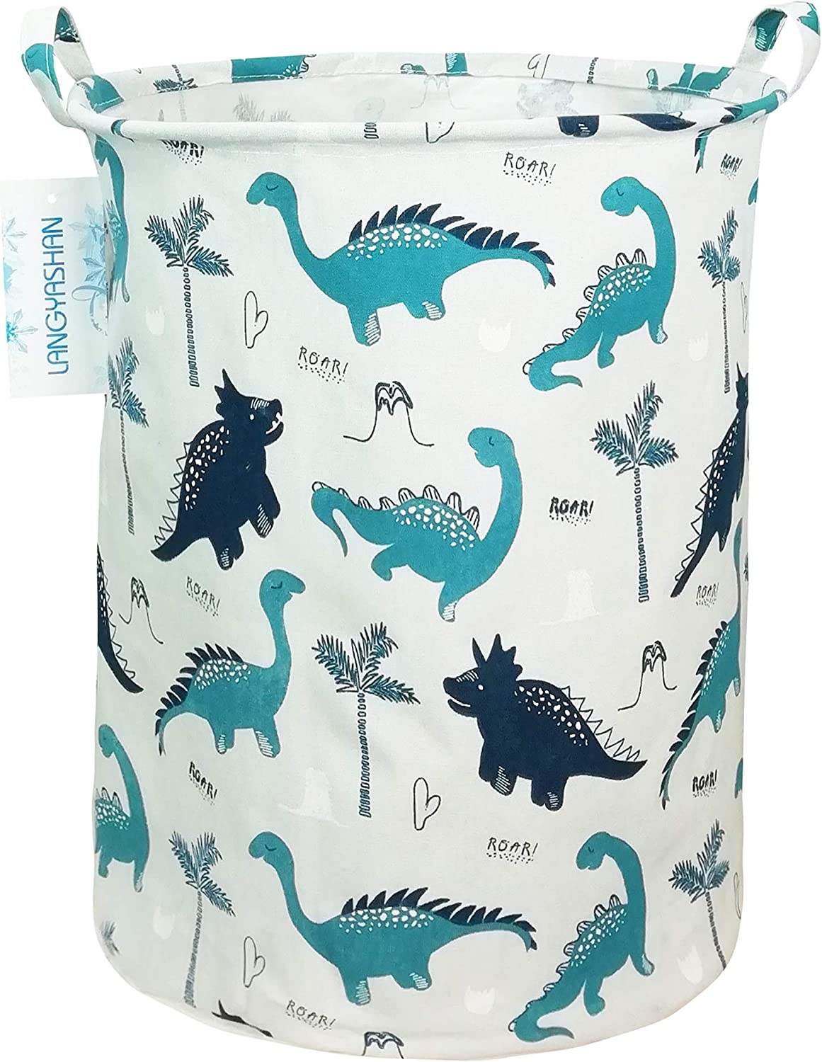 Clothes,Baby Nursery LANGYASHAN Storage Bin,Canvas Fabric Collapsible Organizer Basket for Laundry Hamper,Toy Bins,Gift Baskets Green Cactus Bedroom