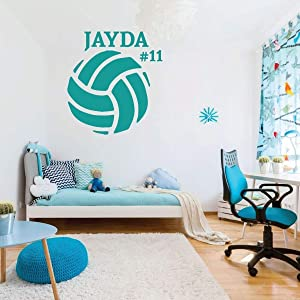 Volleyball Wall Decal Sports Gifts - Personalized Ball Sticker Decor for Girl's or Boy's Bedroom and Game Room