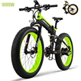 Fat Tires Folding Electric Bikes for Adults 26'' Mountain Electric Bicycle 48V 13Ah Ebikes with 27 Speed Gear 1000W Fast Battery Charger Electric Lock,Green