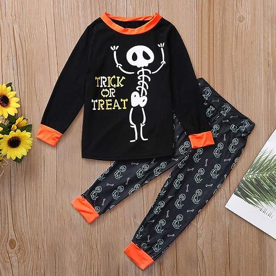 FELZ Conjunto de Pijamas Calaveras de Halloween Imprimir Camiseta ...