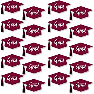 product image for Big Dot of Happiness Maroon Grad - Best is Yet to Come - Graduation Hat Decorations DIY Burgundy Graduation Large Party Essentials - 20 Count