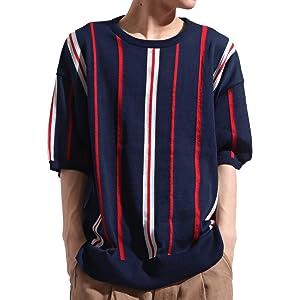 バレッタ Valletta 麻混 ストライプ 柄 クルーネック 半袖 サマーニット Tシャツ クルーネック ストリート モード メンズ ネイビー Mサイズ