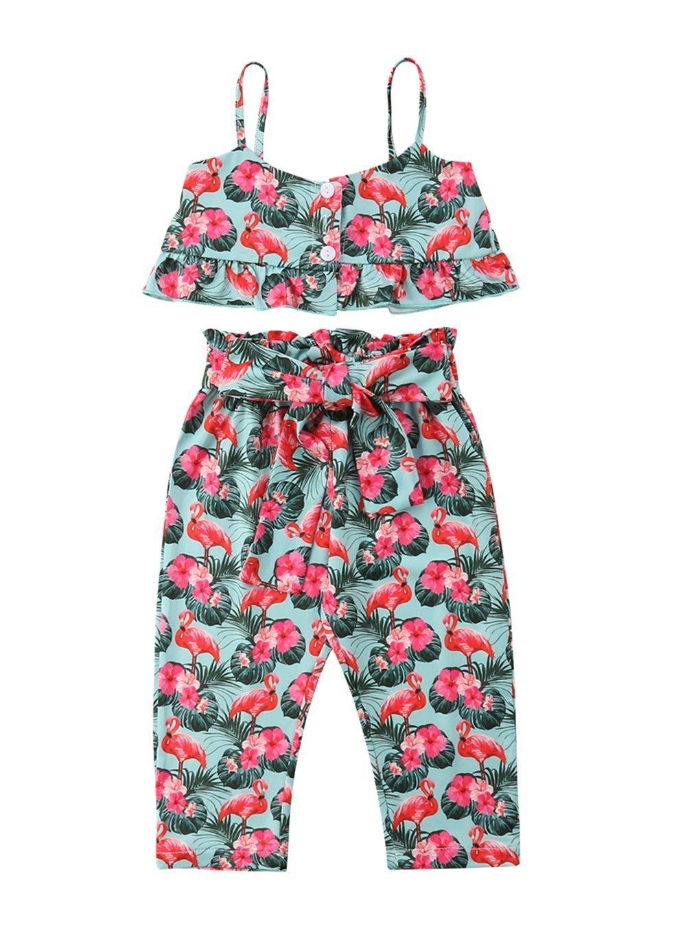 VISGOGO Kids Baby Girls Flamingo Off Shoulder Crop Tops + Pants Outfits Clothes Set 2PCS (1-2 Years)