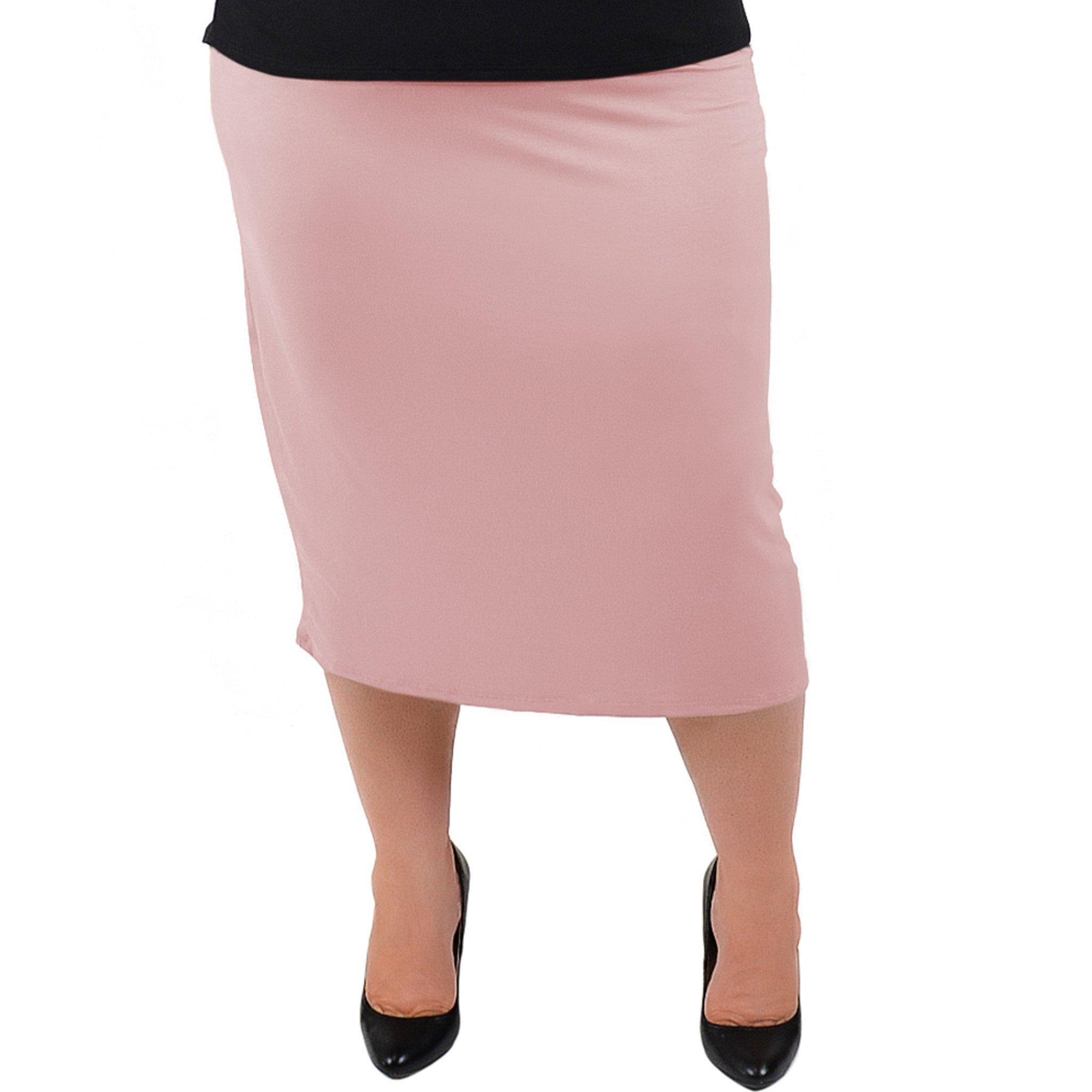 0492b39995500 Galleon - Stretch Is Comfort Women's Plus Size Midi Skirt Light Mauve X- Large