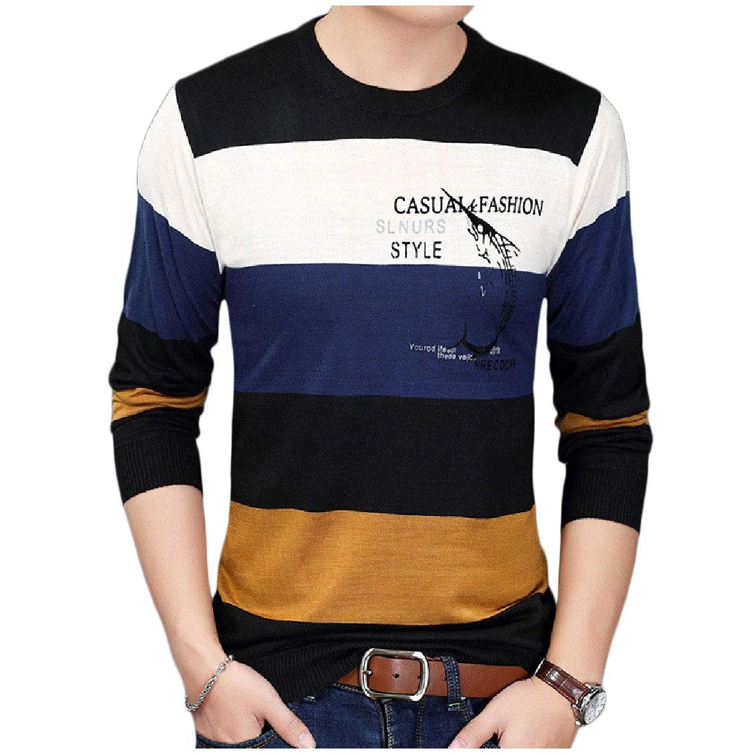 YUNY Mens Scoop Neck Casual Long-Sleeve Pullover Knit Top Shirt T-Shirt Navy Blue XS