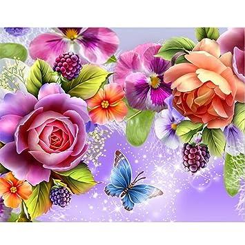 Sunnymi 5d Diamant Stickerei Full Drill Blumen Und Schmetterlinge
