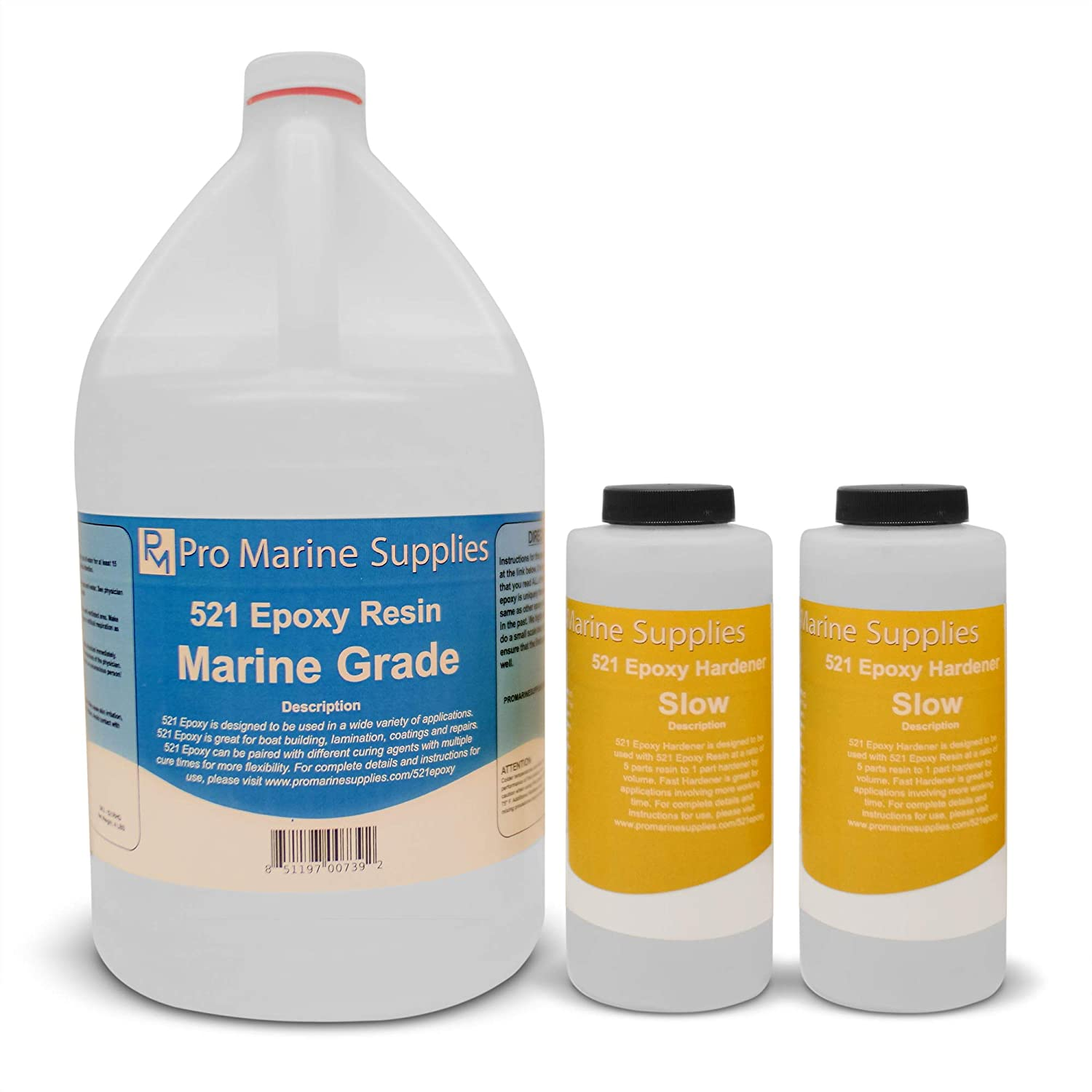 Pro Marine Epoxy Resin and Hardener Kit - 521 System WITH PUMPS |  Fiberglass Boat Repair | Fiberglass Cloth and Mat | Total Penetrating Apoxy  Glue |