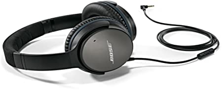 Bose QuietComfort 25 Acoustic Noise Cancelling Headphones for Samsung and Android devices, Black wired, 3.5mm Renewed