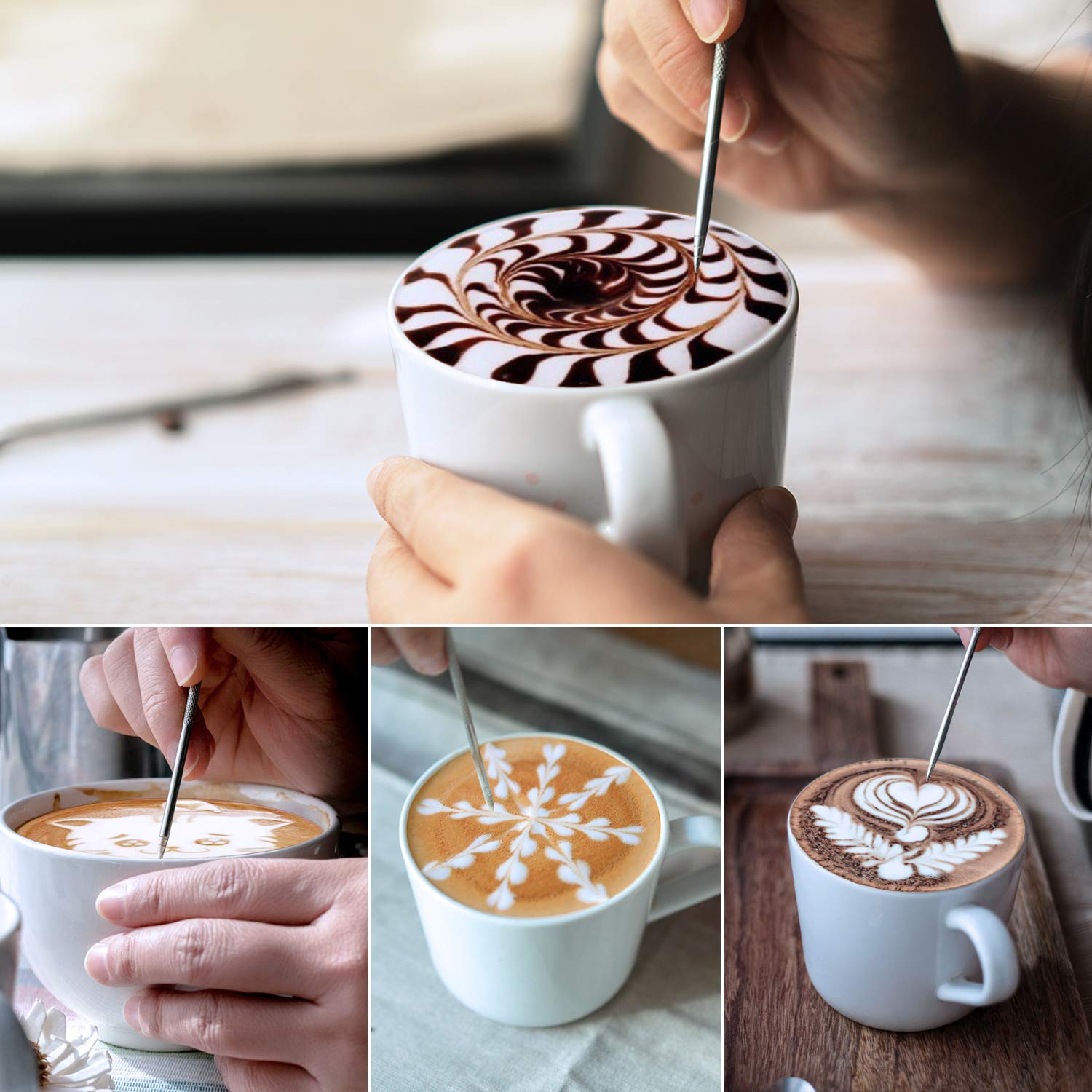 Milk Frothing Pitcher 600ml/350ml/900ml (20oz/12oz/32oz) Steaming Pitchers Stainless Steel Milk/Coffee/Cappuccino/Latte Art Barista Steam Pitchers Milk Jug Cup with Decorating Art Pen, Latte Arts by Adorever (Image #6)