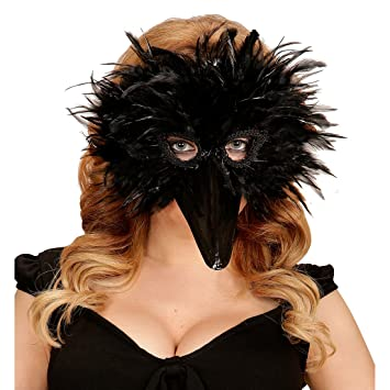NET TOYS Máscara de pájaro Careta de Cuervo con Plumas Negro Antifaz corneja Mascarilla con Pico