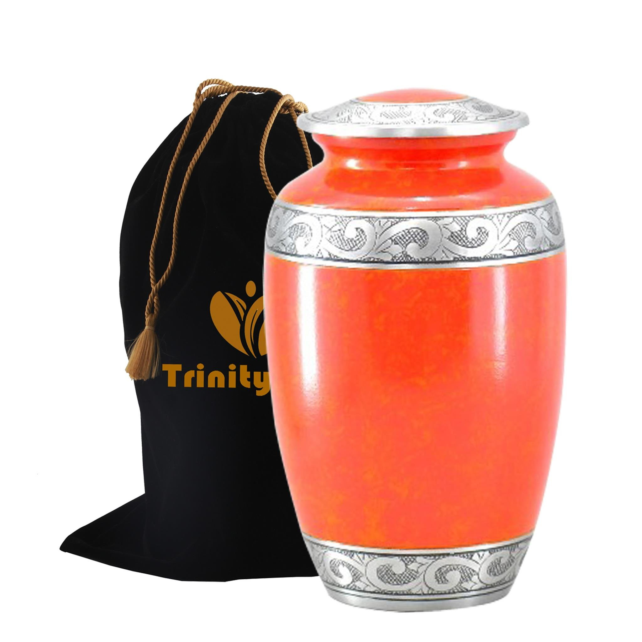Beautiful Autum Cremation Urn - Beautifully Handcrafted Adult Funeral Urn - Solid Metal Funeral Urn - Affordable Urn for Human Ashes with Free Velvet Bag
