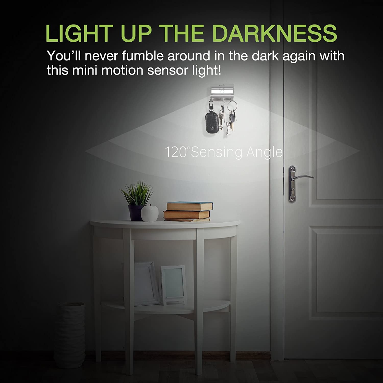 OxyLED - Luces de armario con sensor de movimiento, luz de armario, sin pegamento, 6 luces LED, para armario, tiras y pasos, luz nocturna LED, luces seguras ...