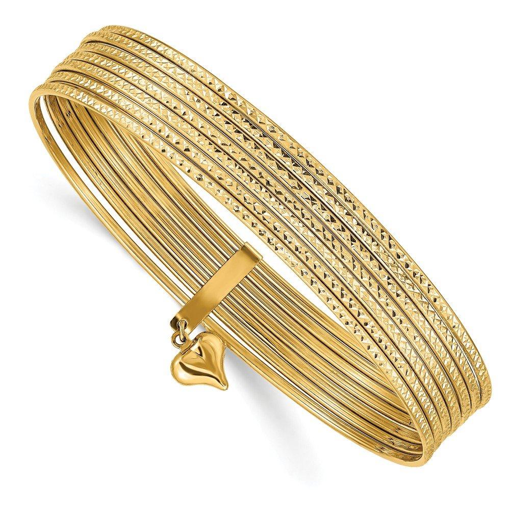 FB Jewels Solid 14K Yellow Gold Diamond-cut Slip On 7 Bangles