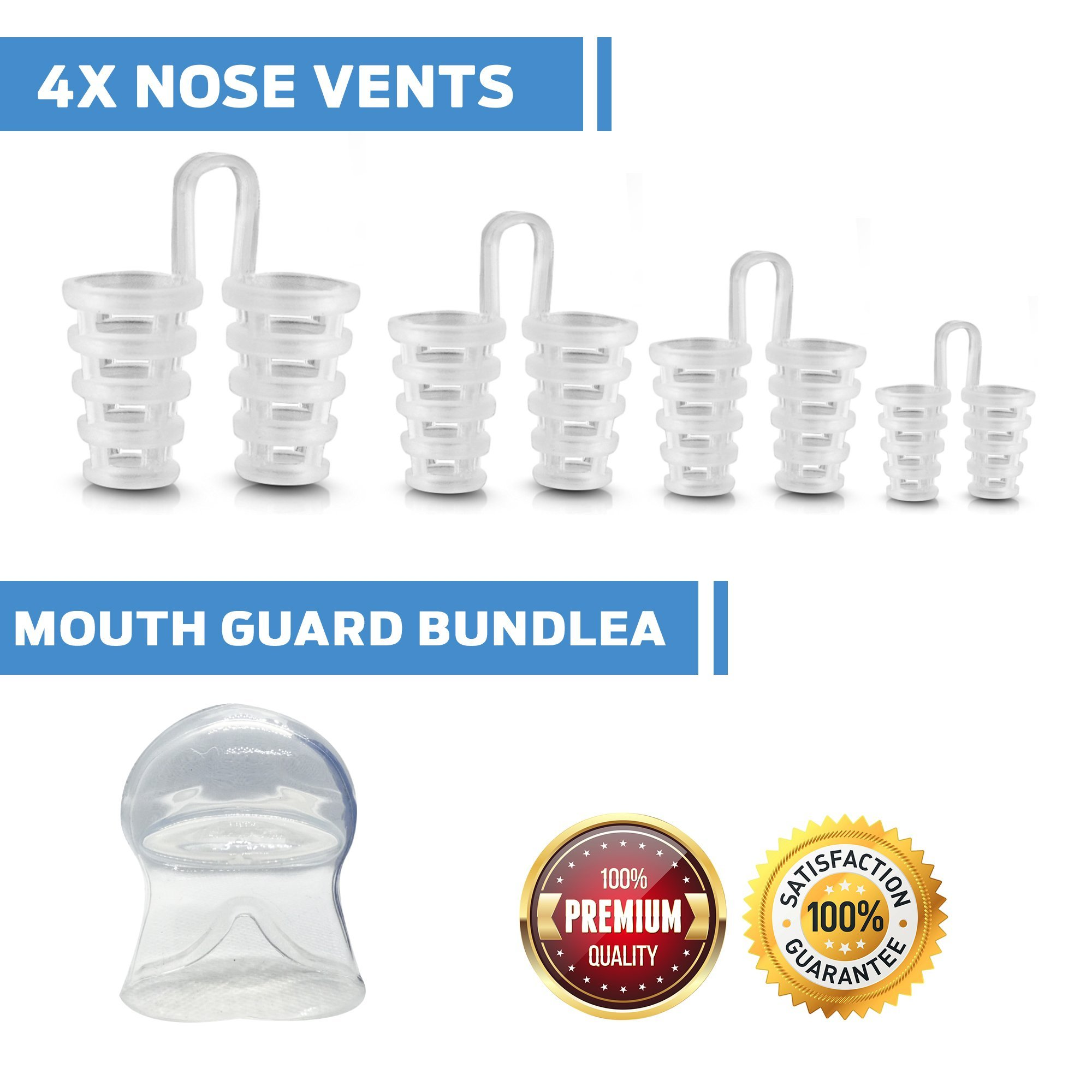 CLOUDSLEEP Anti Snoring Nose Vents Kit: 4 Pairs of Nasal Dilators in 4 Sizes + Anti Snore Mouth Guard Bundle| Easy to Use Silicone Snore Stopper Kit| Stop Snoring Solution Snoring Tongue Retainer by CLOUDSLEEP (Image #5)
