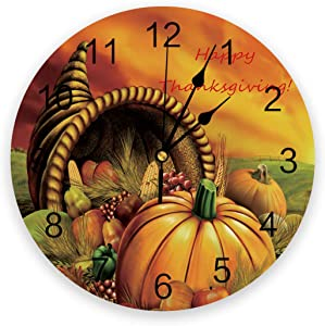 Wall Clocks Non Ticking Thanksgiving Theme with Foods Pattern Round Wall Clock Decor with Big Arabic for Kitchen, Living Room, Office, Bedroom, Classroom 9.8 inch