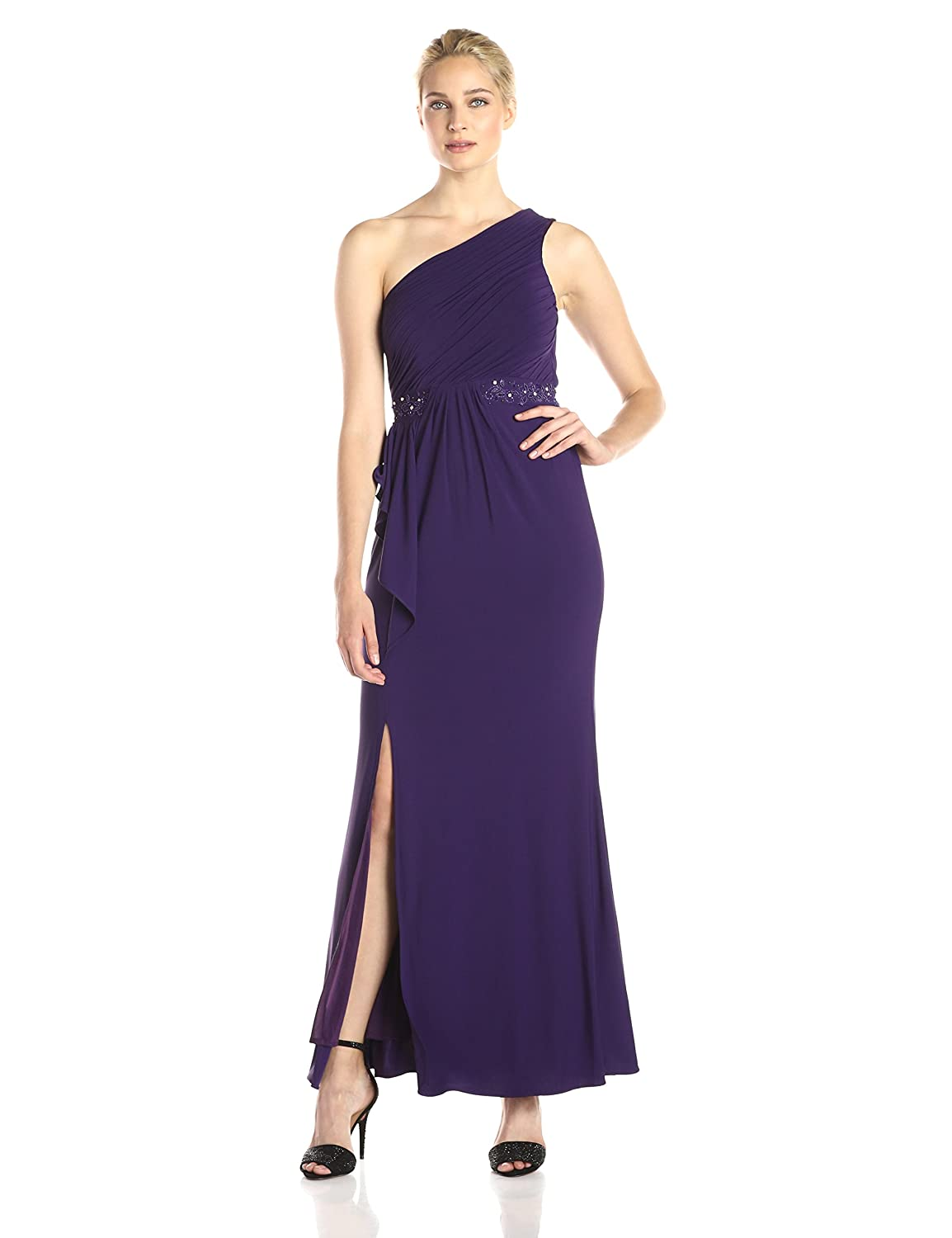 Amazon.com: JS Boutique Women\'s One Shoulder Jersey Gown with Beaded ...