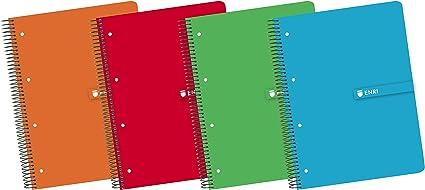 Enri 100430085 - Pack de 5 cuadernos en espiral, tapa dura: Amazon.es: Oficina y papelería
