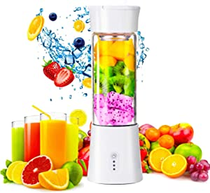 Portable Personal Size Blender, Premium Juicer Cup Juice Crushed-ice Smoothie Shake, 2200mAh 380ml 6 Blades, USB Rechargeable with Charging Cable, Handheld Blender for Sports, Gym, Travel and Office (White)