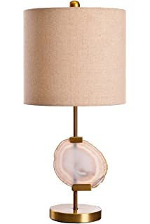 Amazing Lampworks Desk Table Lamp Modern Style Downlight Push Button Switch With  Agate And Fabric Lampshade Design