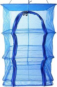 Magarz 4 Tray Fish Mesh Hanging Drying Net Food Dehydrator Durable Folding 4 Layers Fish Vegetable Dishes Dryer Net Drying Rack (19.6 x 19.6 x 25.6 inch)