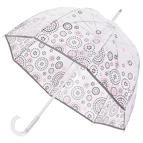 Isotoner Paraguas Cesta transparente para mujer PVC/Ronds de pois: Amazon.es: Ropa y accesorios
