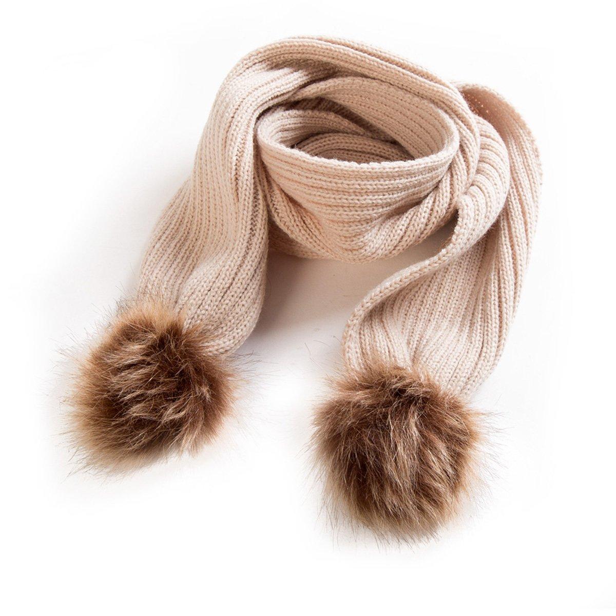 0-24M Baby Boy Girl Double Pom Pom Fur Ball Knitted Crochet Scarf Winter Neckerchief