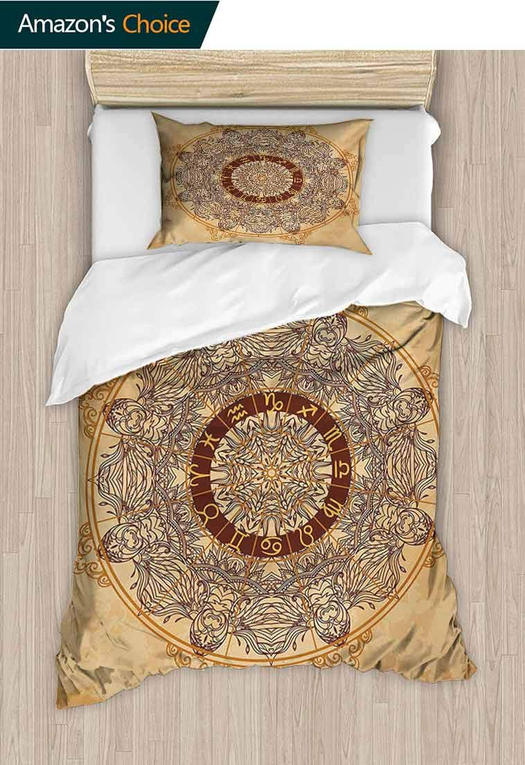 Zodiac Custom Made Duvet cover and Pillowcase Set, Vintage Ornamental Circle with Horoscope Signs on Aged Old Paper Background, Bedding Set with Zipper Ties 1 Duvet Cover 1 Pillow Shams Tan Brown