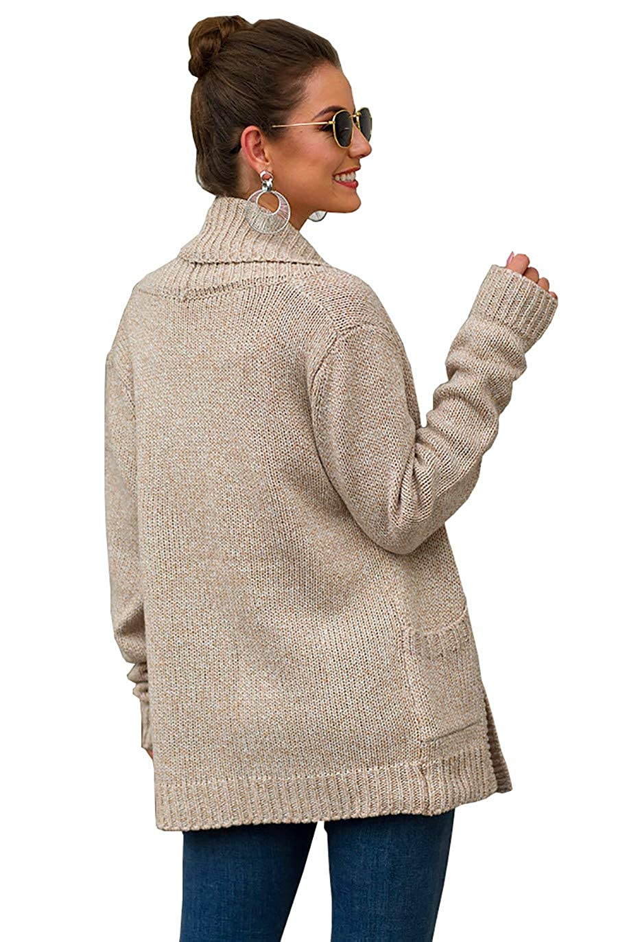 Womens Shawl Collar Open Front Cardigan Rib Knit Loose Chunky Sweater Coat with Pockets