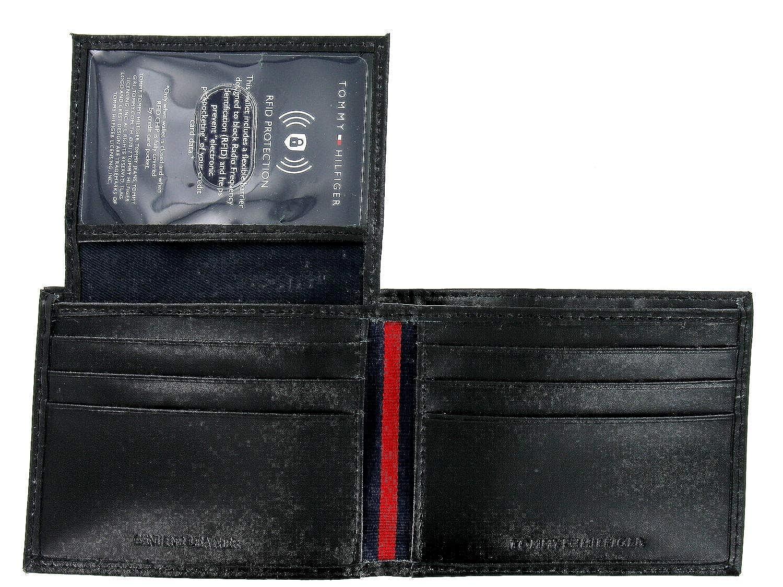 Bi-Fold Wallet Tommy Hilfiger Mens Black Leather ID Holder
