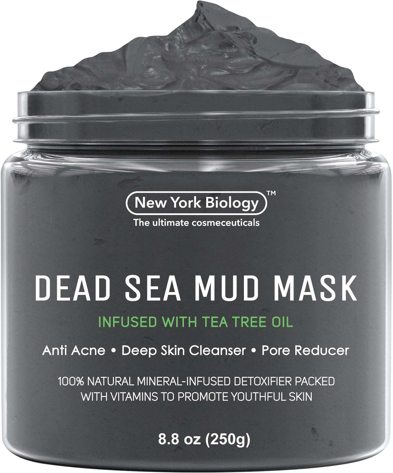 New York Biology Dead Sea Mud Mask Infused with Tea Tree - 100% Natural Spa Quality - Pore Reducer to Help with Acne, Blackheads and Oily Skin Tightens Skin for A Healthier Complexion - 8.8 oz by New York Biology