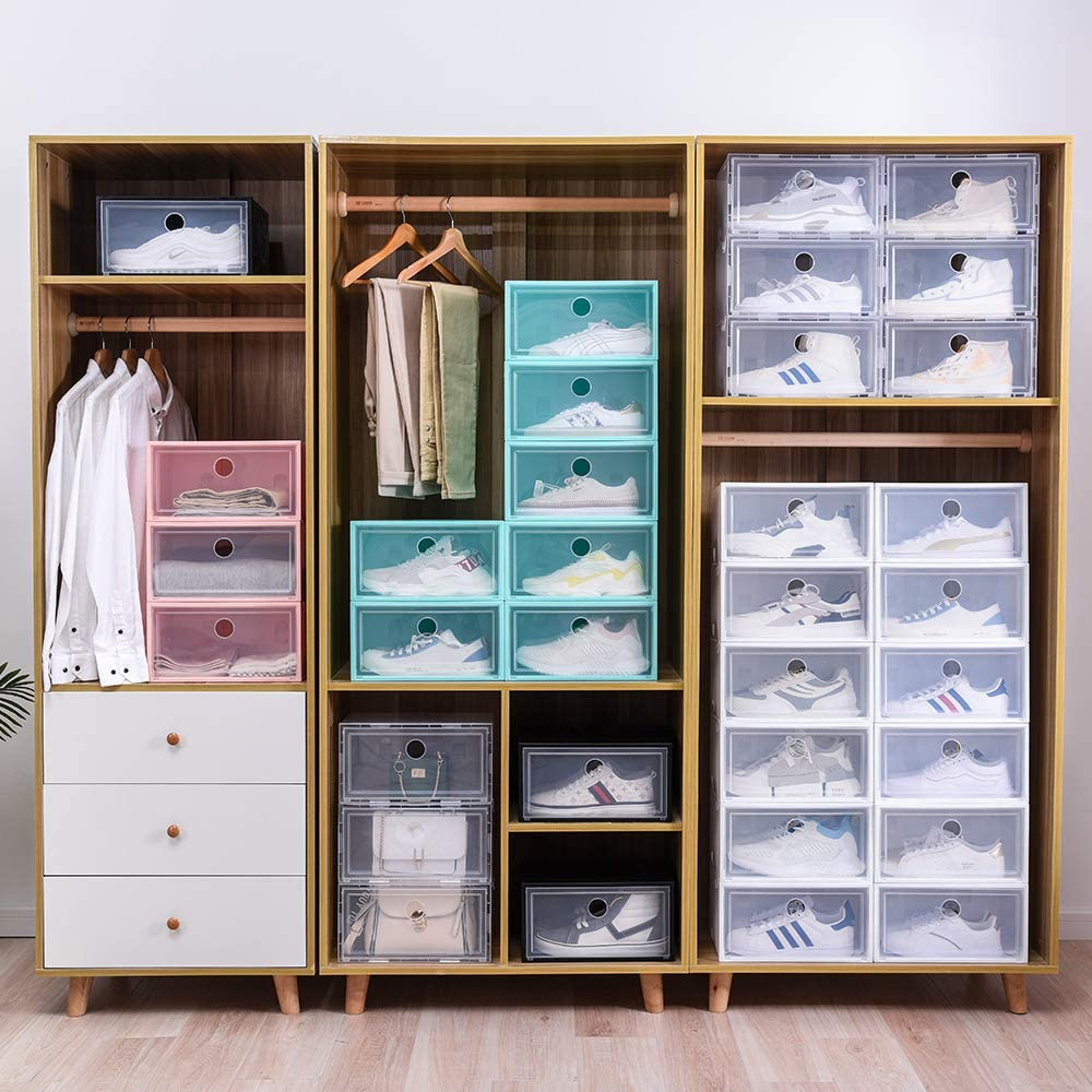 Shoe Box Clear Plastic Stackable Shoe Storage Box