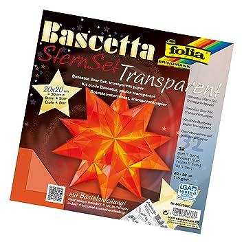 FOLIA Bastelset Bascetta Stern 15x15cm gelb Transparentpapier 32Blatt Weihnachte