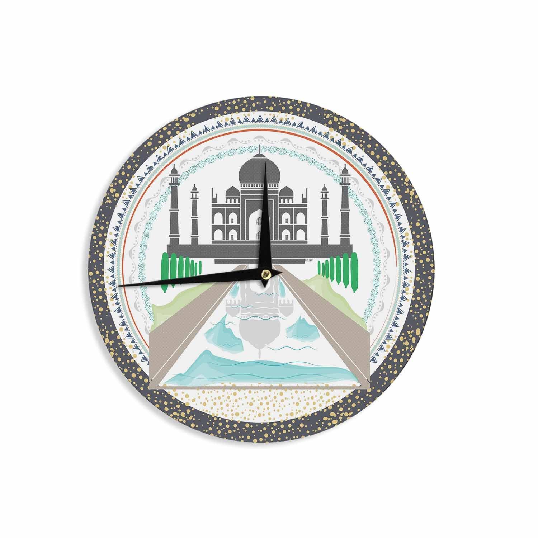 KESS InHouse FM1070ACL01 Famenxt ''The Taj Mahal India'' Green Gray Wall Clock, 12'' Wall Clock