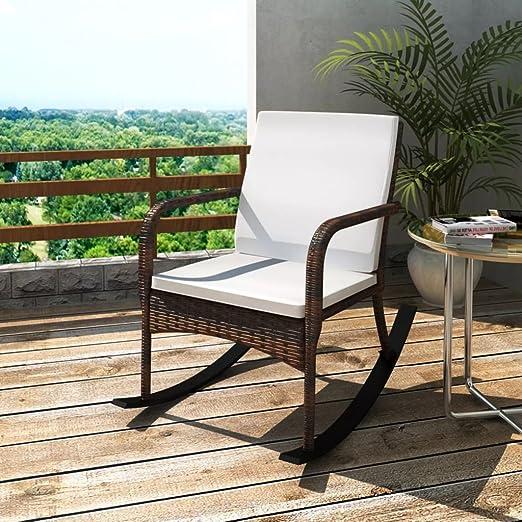 Furnituredeals silla mecedora de jardín de ratán marrón.Tamaño: 64 x 101 x 91 cm (L x P x A): Amazon.es: Jardín