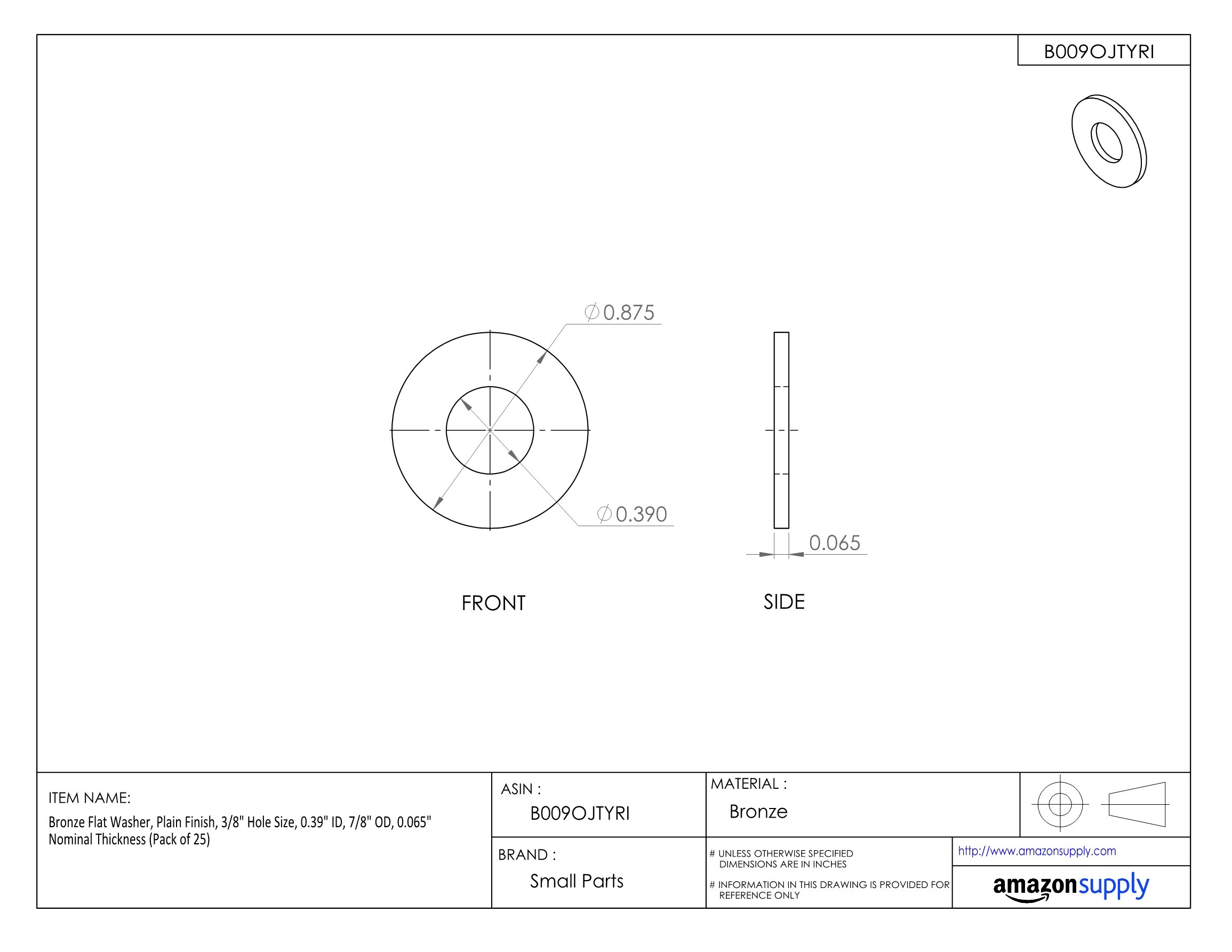 Bronze Flat Washer, Plain Finish, 3/8 Hole Size, 0.39'' ID, 7/8 OD, 0.065'' Nominal Thickness (Pack of 25)
