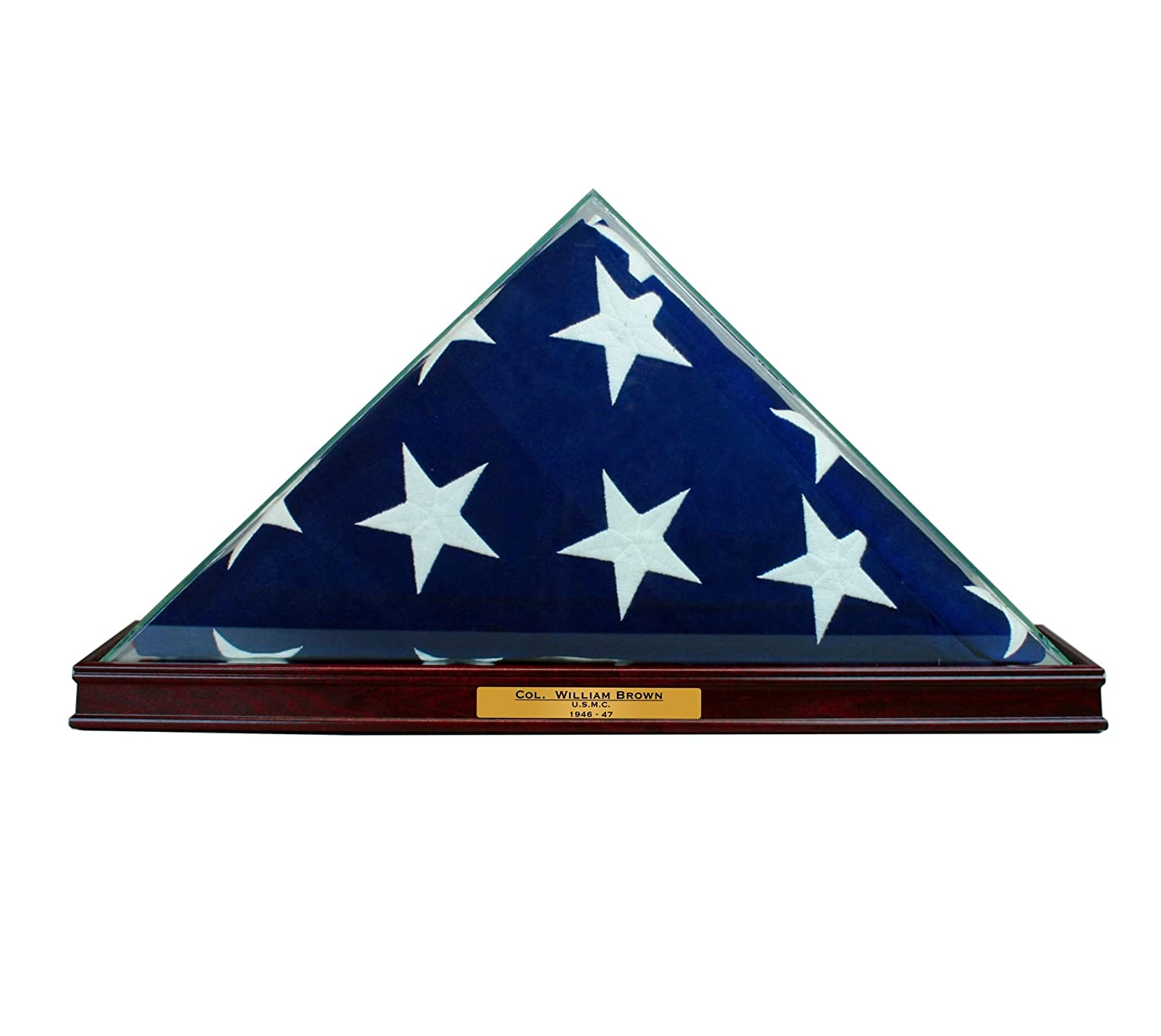 Perfect Cases All Glass Flag Display Case for 9.5' X 5' Flag with Engraving (Cherry) Inc. TTFLG-CSPT-ENG