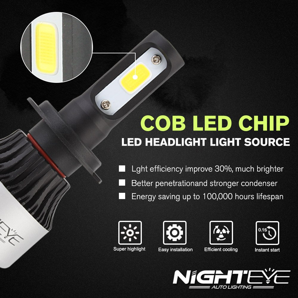 Garantie de fabrication de 3 ans H1 H1 H4 H7 72w 9000LM // Set 6500K Blanc Froid NIGHTEYE Voiture Ampoules LED Phare